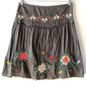 Free People Boho Embroidered Floral Skirt Size 2
